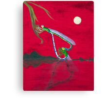 Full-moon Lover - Two Loving Dragonflies Canvas Print