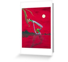 Full-moon Lover - Two Loving Dragonflies Greeting Card