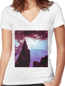 Somewhere in the Flux of Time Women's Fitted V-Neck T-Shirt