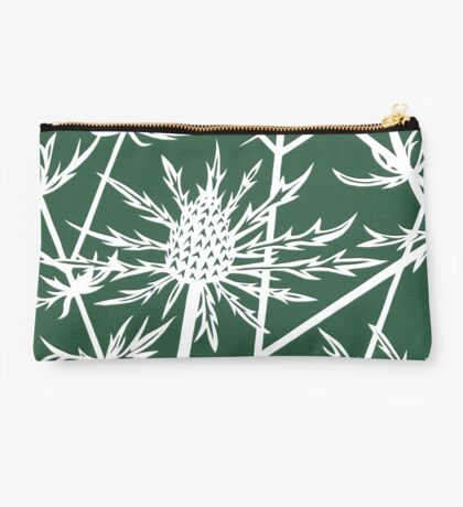 Paper art - Sea hollies on a forest green background Studio Pouch