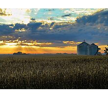 Sunrise And Silos 2 Photographic Print