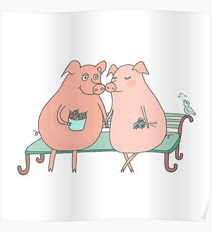 Couple of cute pigs sitting on a bench Poster