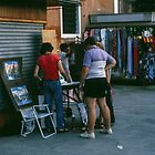 Sales on sidewalk beside Grande Canale Venice Italy 19840729 0069  by Fred Mitchell