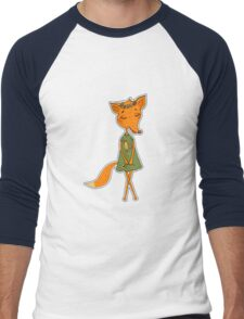 Cute Fox girl in a dress with a rooster Men's Baseball ¾ T-Shirt