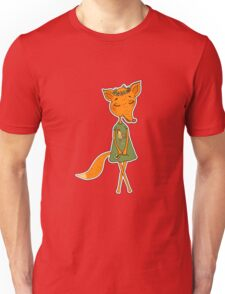 Cute Fox girl in a dress with a rooster Unisex T-Shirt