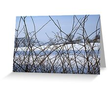 Blue and White English Snow Landscape Scene Greeting Card