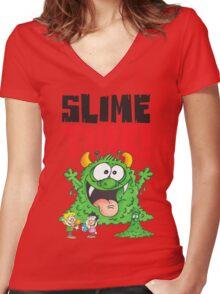 Graphic Slimey Joe Women's Fitted V-Neck T-Shirt