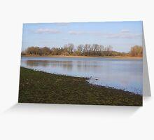 Golden Trees, Blue Lake, Green Lake Bed Landscape Greeting Card