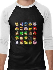 Super Smash Bros. Melee Neutral Stock Icons Men's Baseball ¾ T-Shirt