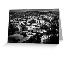 Black and White Italian City Landscape Scene Greeting Card