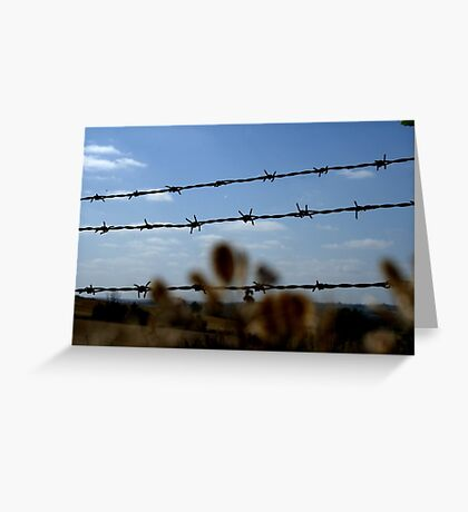 English Landscape Barbed Wire Fence Blue Sky Greeting Card