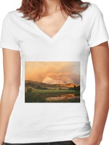Sunset & Smoke Women's Fitted V-Neck T-Shirt