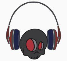 Cute Skull and Headphones - Coloured Version Kids Tee