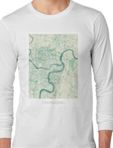Chingqing Map Blue Vintage Long Sleeve T-Shirt