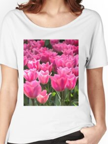 No Spanking The Monkey©WEAR Pink Tulips  Women's Relaxed Fit T-Shirt