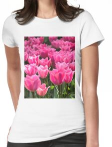 No Spanking The Monkey©WEAR Pink Tulips  Womens Fitted T-Shirt