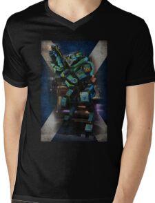 Tartan Robot Mens V-Neck T-Shirt