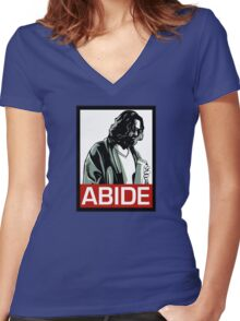 Jeff Lebowski (the dude) abides - the big lebowski Women's Fitted V-Neck T-Shirt