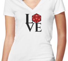 D20 - LOVE Women's Fitted V-Neck T-Shirt