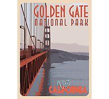 Golden Gate Bridge Retro Poster  Photographic Print