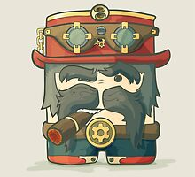 Steampunk dirigible pilot with goggles and hat, leather jacket by AndrewBzh