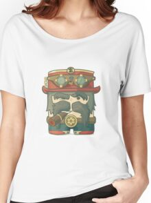 Steampunk dirigible pilot with goggles and hat, leather jacket Women's Relaxed Fit T-Shirt