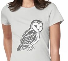 Grey and White Barn Owl Womens Fitted T-Shirt