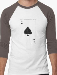 Vintage Look Ace of Spades Playing Card Graphic Men's Baseball ¾ T-Shirt