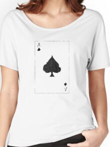 Vintage Look Ace of Spades Playing Card Graphic Women's Relaxed Fit T-Shirt