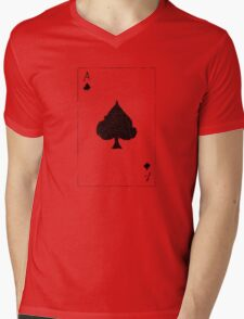 Vintage Look Ace of Spades Playing Card Graphic Mens V-Neck T-Shirt