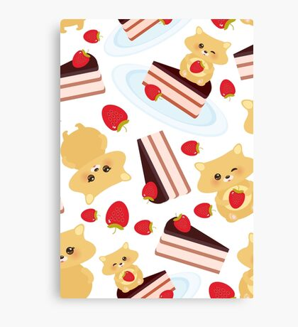 Cute Hamsters with Cakes Canvas Print