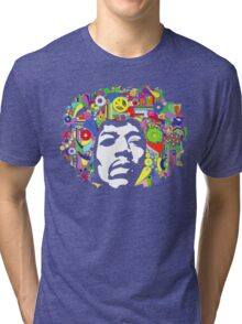 Jimi Hendrix Color Blast Design Tri-blend T-Shirt