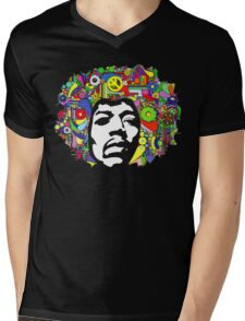 Jimi Hendrix Color Blast Design Mens V-Neck T-Shirt