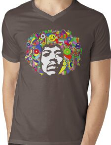 Jimi Hendrix Color Blast Design Mens V-Neck T-Shirt