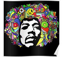 Jimi Hendrix Color Blast Design Poster