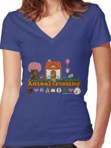 Animal Crossing home sampler Women's Fitted V-Neck T-Shirt