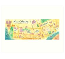 Illustrated map of New Orleans, Louisiana, USA Art Print
