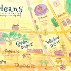 Illustrated map of New Orleans, Louisiana, USA by kimfleming