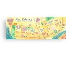 Illustrated map of New Orleans, Louisiana, USA Canvas Print
