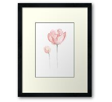 Pink Peonies Watercolor Painting Abstract Flower Drawing Poster Framed Print