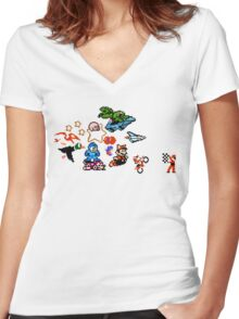 8-bit Race Women's Fitted V-Neck T-Shirt