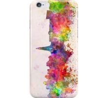 Reykjavik skyline in watercolor background iPhone Case/Skin