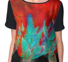 Abstract In Red Chiffon Top