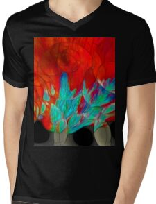 Abstract In Red Mens V-Neck T-Shirt