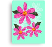 Pink Cut Out Flowers on mint green Canvas Print
