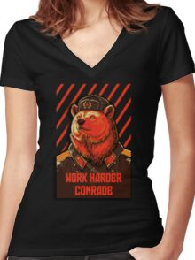 Vote Soviet bear - russian bear meme Women's Fitted V-Neck T-Shirt
