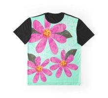 Pink Cut Out Flowers on mint green Graphic T-Shirt