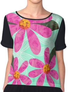 Pink Cut Out Flowers on mint green Chiffon Top