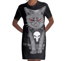 Punishy Cat Graphic T-Shirt Dress