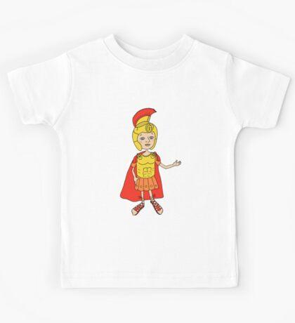 Cute Image Roman gladiator in armor, helmet Kids Tee
